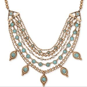 Lucky Brand Turquoise Look Layered Collar Necklace